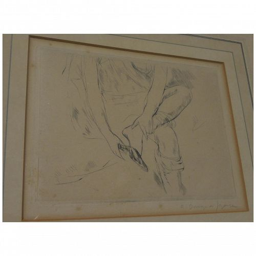 ANDRE DUNOYER DE SEGONZAC (1884-1974) pencil signed etching of lady removing slipper by important French artist