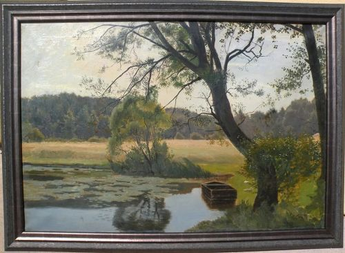 OTTO PETERSEN BALLE (1865-1916) Danish art vintage large painting of a small pond with row boat and ducks in a forest clearing