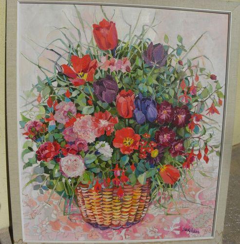 JACK H. BAKER (1925-2011) impressionist floral still life painting
