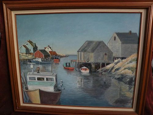 Canadian art large oil painting fishing vessels Peggy's Cove Nova Scotia