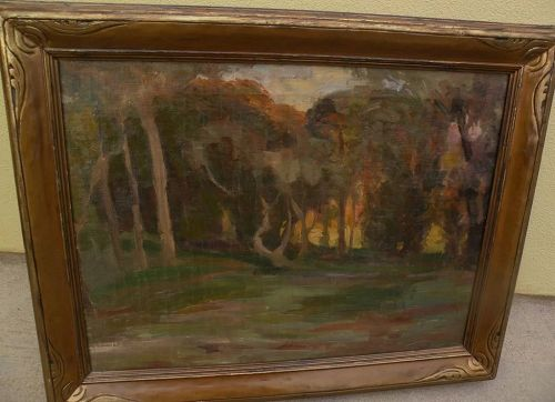 Vintage California plein air landscape painting in beautiful vintage frame from estate of listed artist EMILIO LANZI (1884-1965)