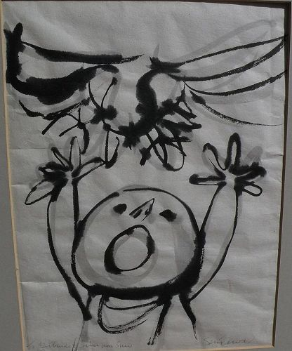 SUEO SERISAWA (1910-2004)  Japanese-American artist brush drawing on rice paper signed