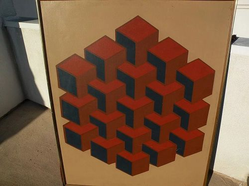 Mid century Op Art geometric painting signed