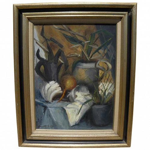 CLARETTA WHITE (c. 1915-2002) impressionist still life painting by California artist