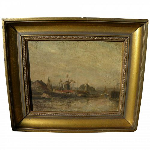 Dutch 19th century impressionist painting of coastal windmills illegibly signed