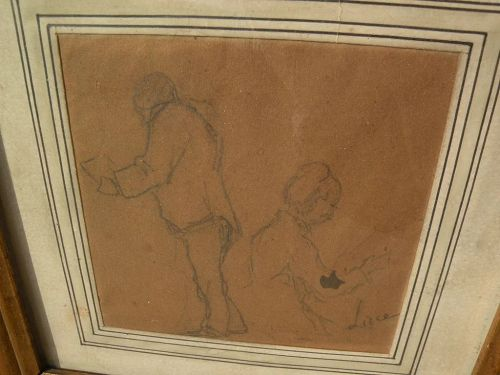 MAXIMILIEN LUCE (1858-1941) signed pencil sketch drawing of seated figures by major French Neo-Impressionist artist�