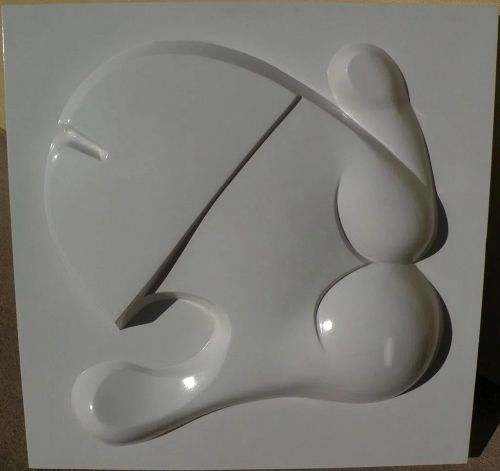 TAKESHI KAWASHIMA (1930-) Japanese American art circa 1970 molded abstract wall relief sculpture by well listed artist