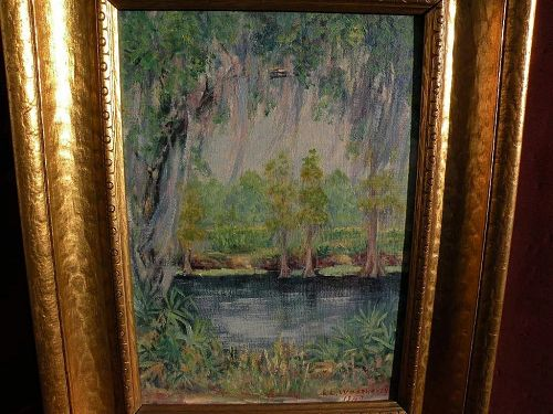 Southern American art signed 1940 impressionistic Spanish moss landscape oil painting