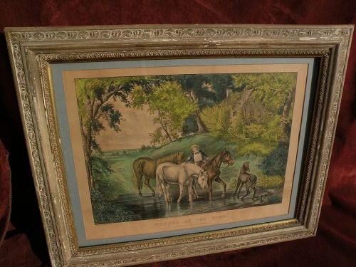 "Currier and Ives 1867 lithograph large folioprint ""Horses at the Ford"""
