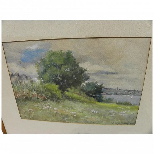 HARRIET WINSLOW HAYDEN (1840-1926) old watercolor painting likely Massachusetts landscape