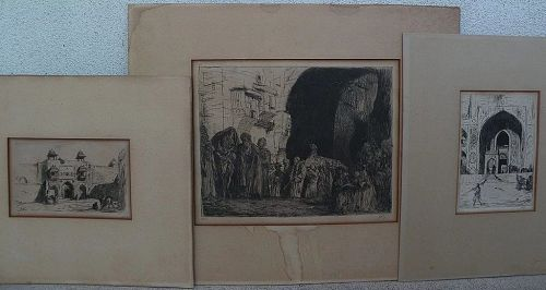 MARIUS BAUER (1867-1932) **three** pencil signed etchings of orientalist subjects by Dutch noted artist