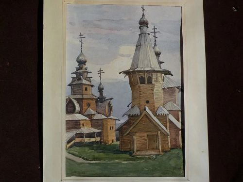 NIKOLAI TROSCHENKOV (1961-) Russian art 1989 original watercolor painting of the Museum of Wooden Architecture at Suzdal