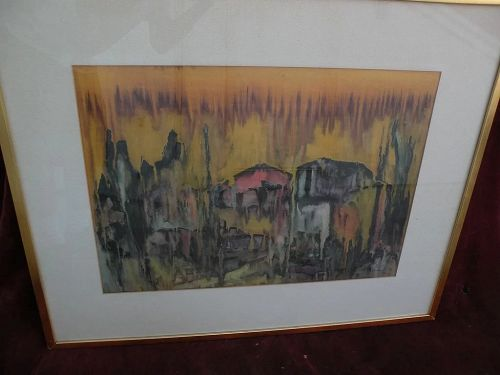 Modern Jewish art semi abstract large 1962 watercolor painting signed BENAROYA