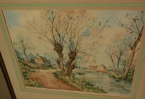 PAUL EMILE LECOMTE (1877-1950) large color etching of French riverside landscape