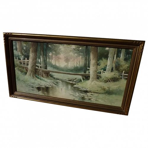 ELBRIDGE J. FENN (1857-1934) nicely framed vintage watercolor landscape painting of woodland creek by listed New York artist