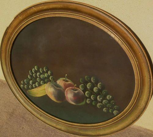 American pastel still life circa 1900 in oval frame