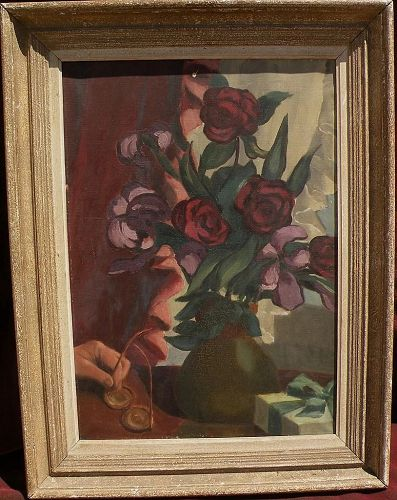 Vintage still life oil painting flowers in a vase in modernist style