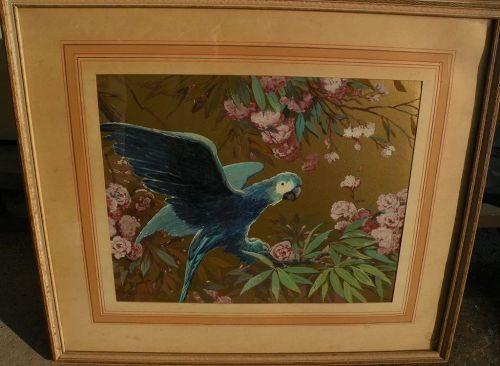 OTTO FELIX SCHROETER (c. 1880-c. 1965) Art Deco era signed decorative painting of parrot
