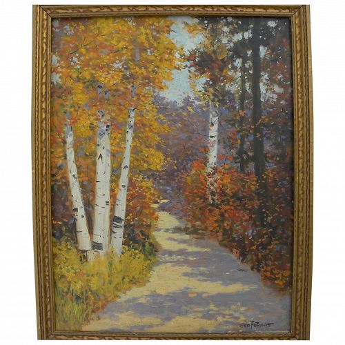 GEORGE FOREST PAYNE (20TH century American) beautiful high autumn impressionist landscape painting