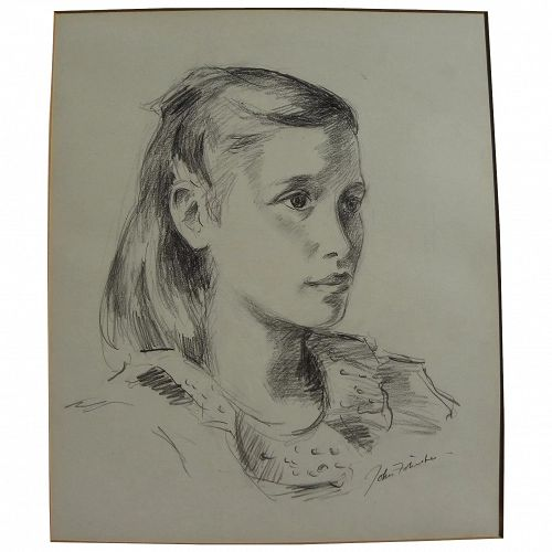 JOHN FOLINSBEE (1892-1972) pencil or charcoal portrait drawing of young girl by major New Hope School artist