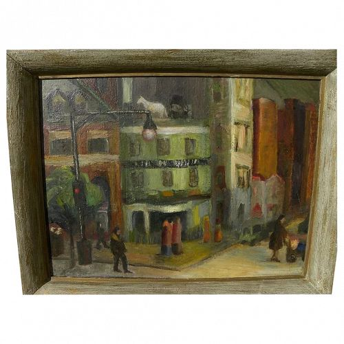 New York Ashcan School style painting Horse & Buggy Tavern 1940's