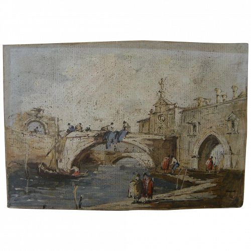 School of GUARDI 18th century antique Italian gouache and ink drawing of Venice