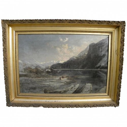 Old likely Northwest Coast or Alaskan winter mountain landscape painting with figures and canoes