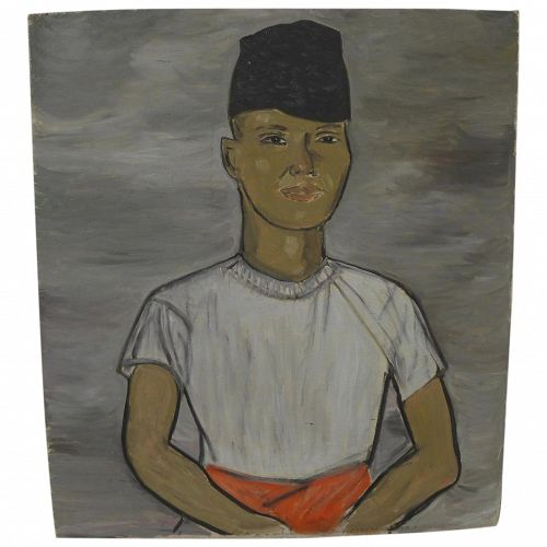Indonesian art oil on panel painting of a man