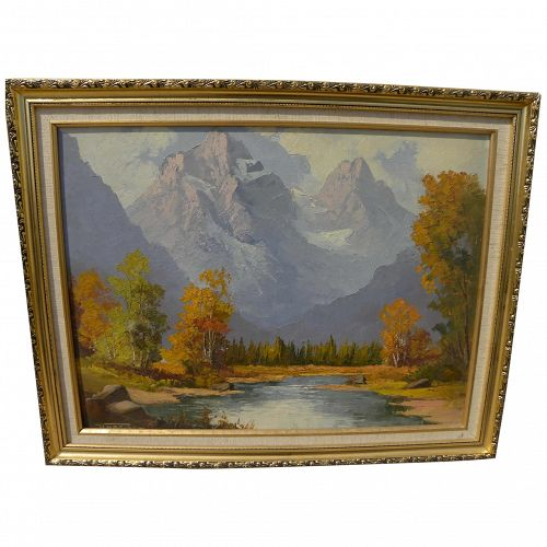 WILLIAM HARISCH (1914-1967) impressionist painting of Canadian Rockies by German-Canadian artist
