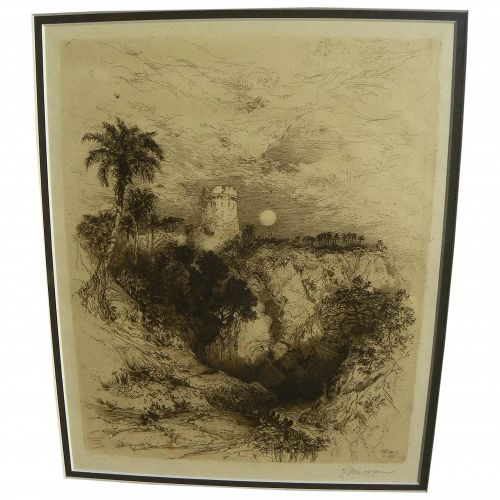 """THOMAS MORAN (1837-1926) pencil signed 1883 etching """"A Tower of Cortes"""" by the famous American artist"""