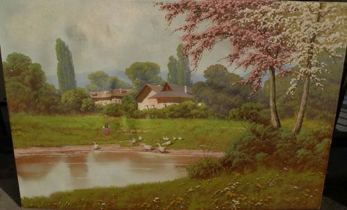 JOSEPH DANDE (1911-) Hungarian art impressionist spring landscape painting by listed artist