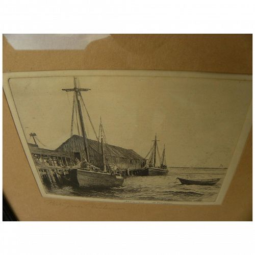 MORGAN DENNIS (1892-1960) original pencil signed Provincetown etching by artist illustrator well known for dog art
