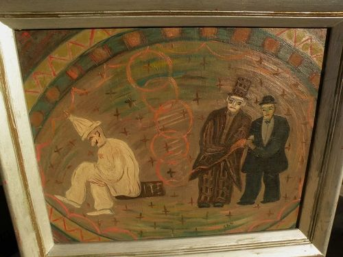 JACOB PELL (1898-1991) whimsical naive circus painting by listed WPA artist�