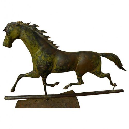 American 19th century folk art galloping horse weather vane