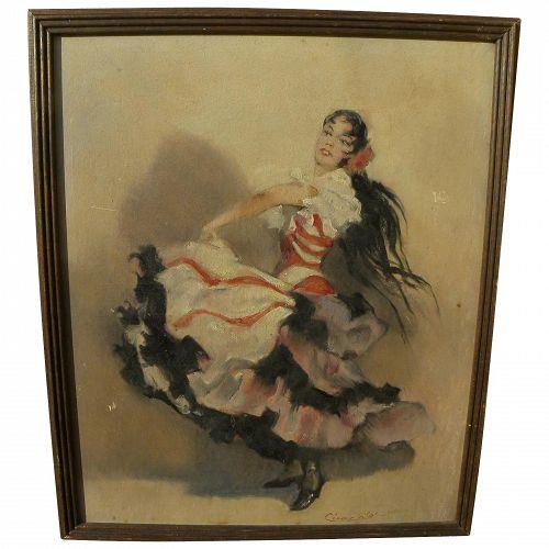 CESAR VILOT vintage Spanish art flamenca dancer painting signed