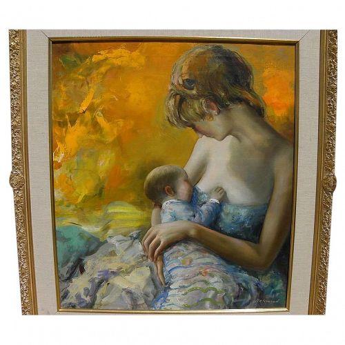 HUGO MATZENAUER (1923-2013) tender painting of mother nursing child