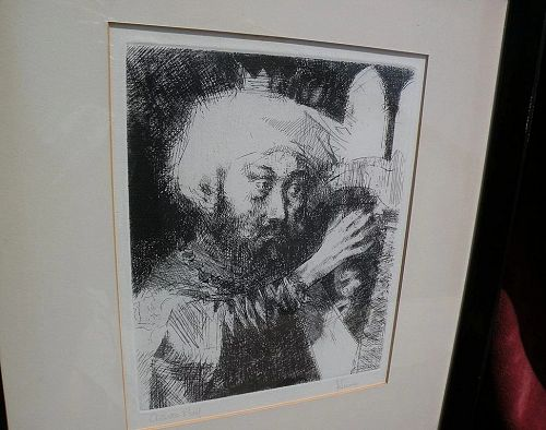 JACK LEVINE (1915-2010) pencil signed etching of Jewish theme subject by well listed Jewish American artist