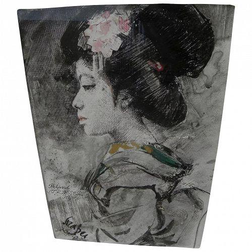 ROLAND STRASSER (1895-1974) painting of Japanese Geisha by important Austrian artist