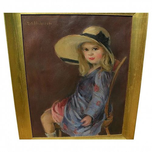 RUTH A. ANDERSON (1891-1957) American art appealing painting of young girl playing dress up by listed artist
