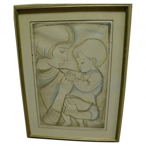 """IRVING AMEN (1918-) pencil signed etching and aquatint print titled """"Tenderness"""""""