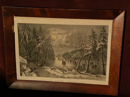"""CURRIER & IVES """"Skating Scene--Moonlight"""" scarce small folio hand colored lithograph print new best 50"""