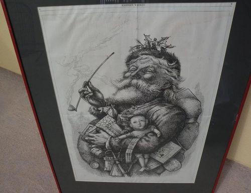 "THOMAS NAST (1840-1902) original iconic ""Merry Old Santa Claus"" Harper's Weekly 1881 cartoon in woodblock"