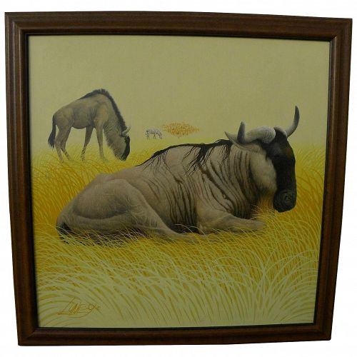 RICHARD LUNEY contemporary American artist finely detailed large painting of African game animals