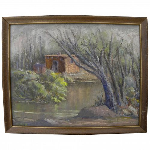 Southwest impressionist painting adobe house in landscape signed Clapp