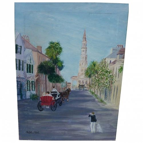 Charleston South Carolina street view oil painting by artist Natalie Reed
