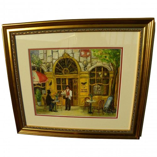"IVANKA PETROVA-TZEKOV (""Vanet"") born 1956 Paris cafe scene by noted Bulgarian artist"