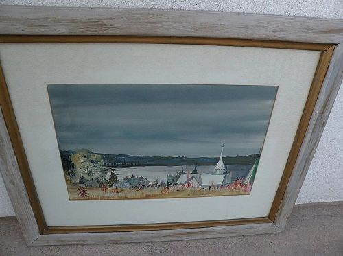 Signed gouache landscape painting dated 1943�