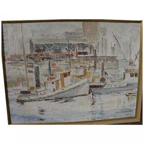 Canadian art impressionist 1964 vintage painting of Vancouver harbor signed H. Douglas