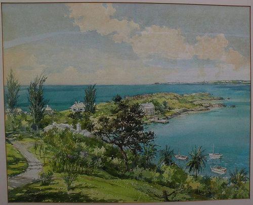 F. KENWOOD GILES (1899/1900-1972) Bermuda art original mid century signed large watercolor painting birds-eye view island landscape