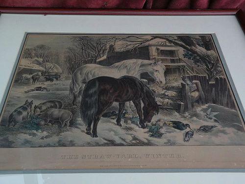 "CURRIER & IVES medium folio original lithograph print ""The Straw-Yard, Winter"""